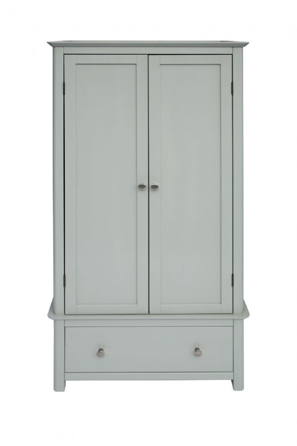 Elgin Grey and Glass 2 Door 1 Drawer Wardrobe | Two door wardrobe with drawer and grey painted finish and glass top.